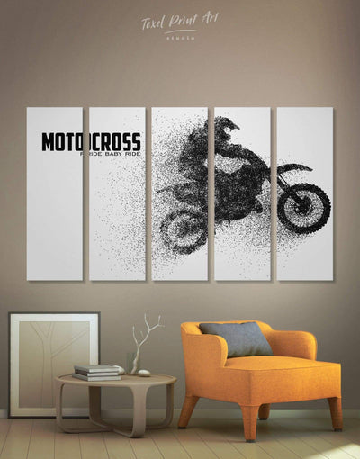 5 Pieces Motocross Wall Art Canvas Print - Canvas Wall Art 5 panels black black and white wall art Hallway Living Room