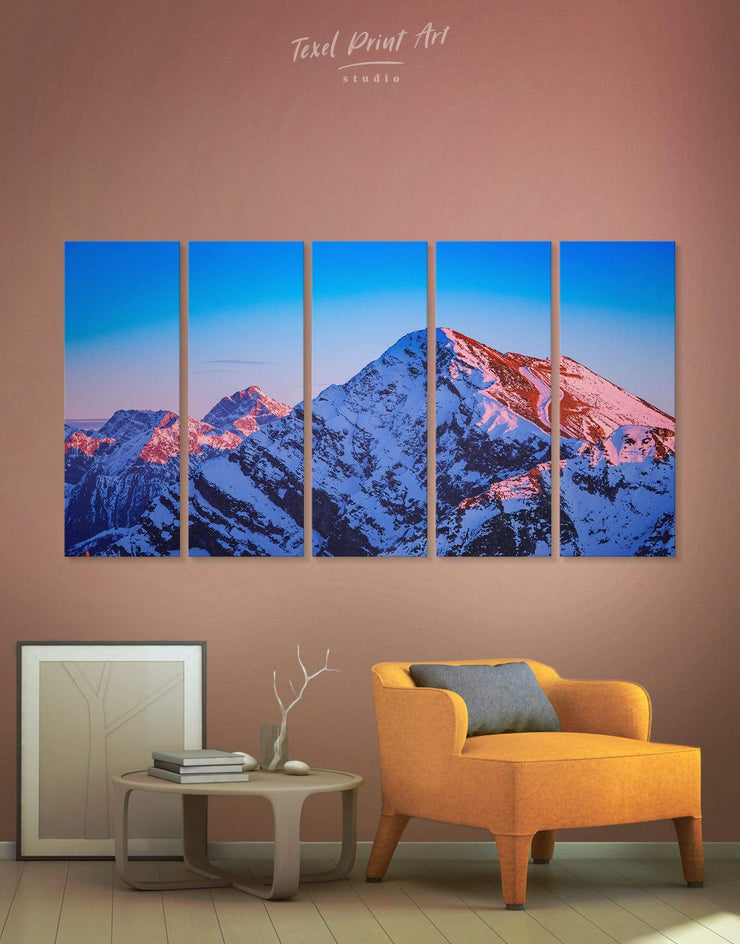 5 Pieces Mountain Wall Art Canvas Print - 5 panels bedroom blue wall art for bedroom Blue wall art for living room Hallway