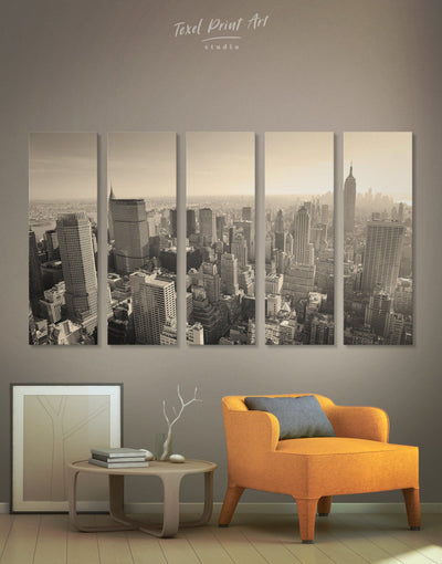 5 Pieces New York Skyline Wall Art Canvas Print - 5 panels bedroom City Skyline Wall Art contemporary wall art Dining room