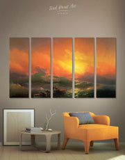 5 Pieces Ninth Wave by Aivazovsky Wall Art Canvas Print