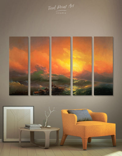 5 Pieces Ninth Wave by Aivazovsky Wall Art Canvas Print - 5 panels bedroom Hallway Living Room Nature