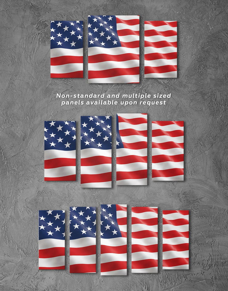 5 Pieces Old Glory Wall Art Canvas Print - 5 panels American flag bedroom blue Flag Wall Art