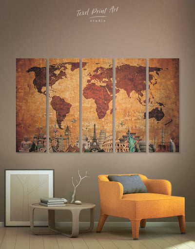 5 Pieces Original World Map Wall Art Canvas Print - 5 panels Abstract Abstract map bedroom Brown