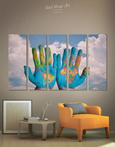 5 Pieces Our World Wall Art Canvas Print - Canvas Wall Art 5 panels Blue Contemporary Hallway Living Room