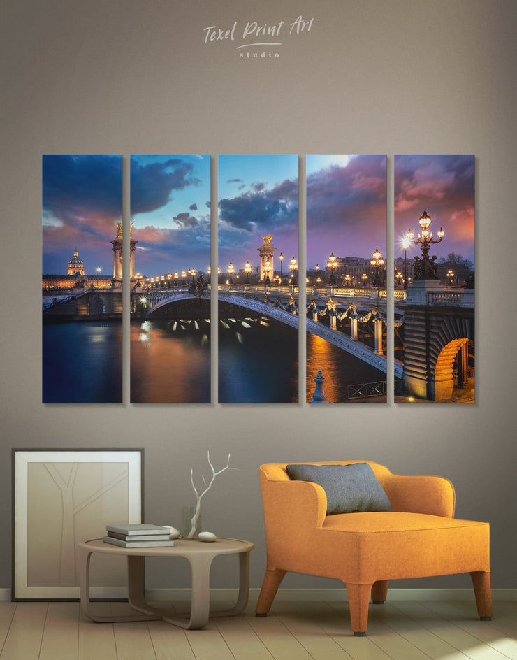 5 Pieces Paris Wall Art Canvas Print - 5 panels bedroom Bridge Cityscape french wall art