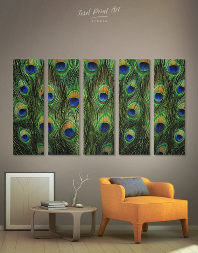 5 Pieces Peacock Feathers Wall Art Canvas Print - 5 panels Abstract bedroom Green Living Room