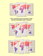 5 Pieces Pink and Purple World Map Wall Art Canvas Print