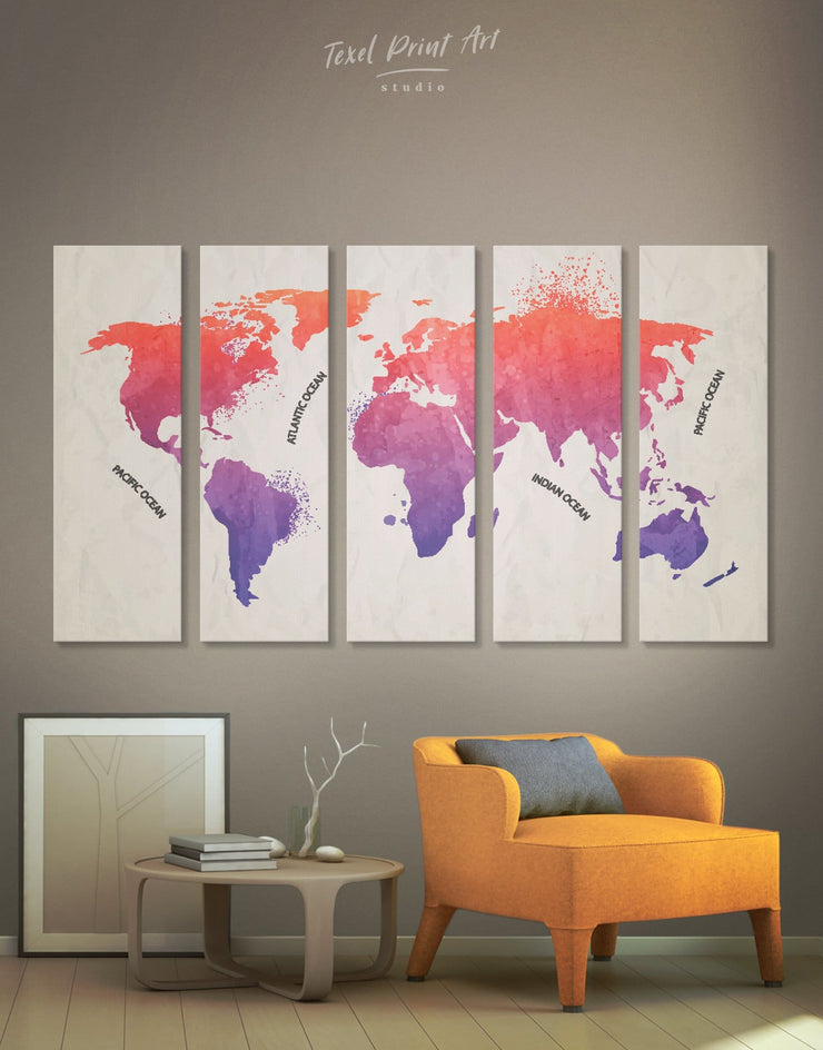 5 Pieces Pink and Purple World Map Wall Art Canvas Print - 5 panels Abstract map bedroom Living Room Office Wall Art