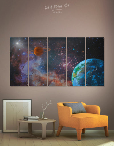 5 Pieces Planets Wall Art Canvas Print - 5 panels bedroom Constellations Wall Art game room Living Room