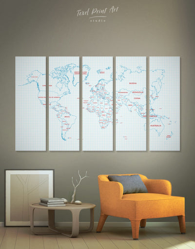 5 Pieces Political World Map Wall Art Canvas Print - 5 panels Abstract map bedroom Dining room Kids room