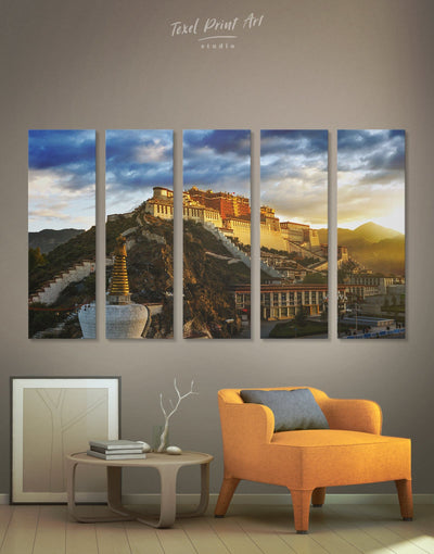5 Pieces Potala Wall Art Canvas Print - 5 panels Architectural Wall Art bedroom buddhist wall art Dining room