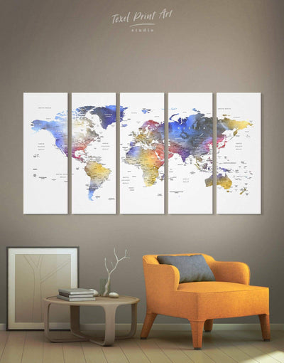 5 Pieces Push Pin Travel Map Wall Art Canvas Print - 5 panels bedroom Blue blue and white Blue wall art for living room