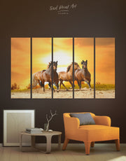 5 Pieces Racing Horses Wall Art Canvas Print