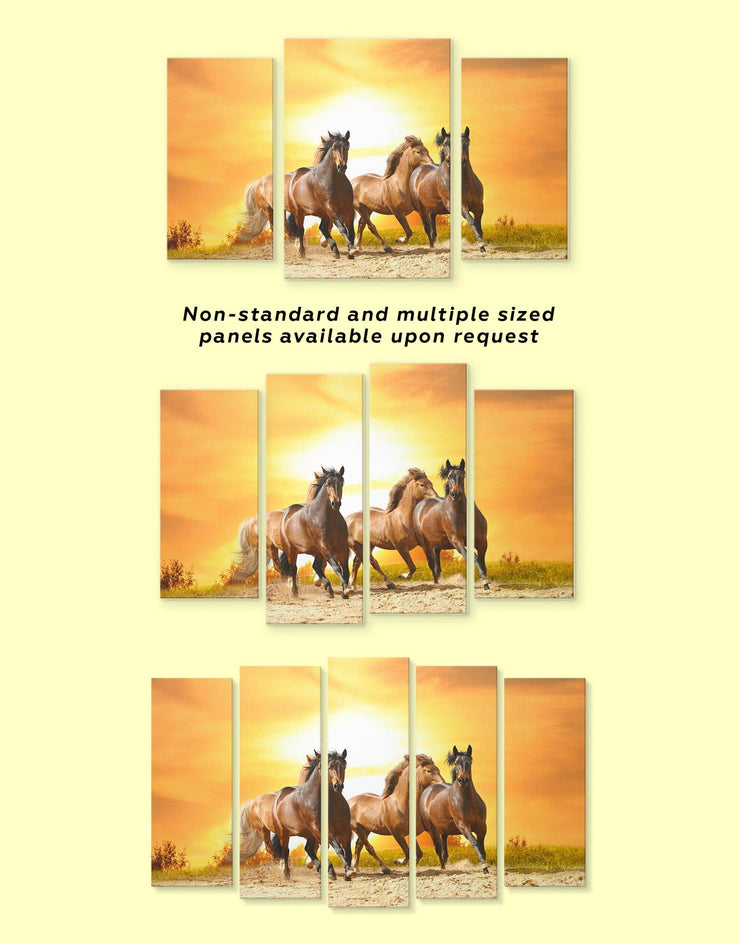 5 Pieces Racing Horses Wall Art Canvas Print - 5 panels Animal Animals Farmhouse horse wall art