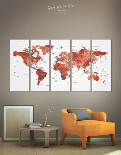 5 Pieces Red World Map Wall Art Canvas Print - 5 panels bedroom contemporary wall art map of the world labeled modern wall art