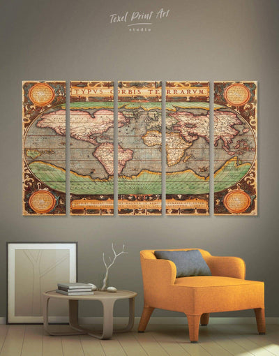 5 Pieces Restoration Map Wall Art Canvas Print - 5 panels Antique Antique world map canvas bedroom Brown