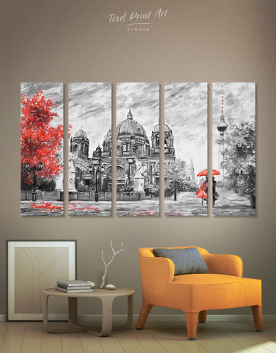 5 Pieces Romantic Berlin Wall Art Canvas Print - 5 panels bedroom grey Hallway Living Room