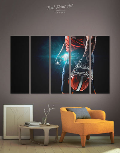 5 Pieces Rugby Sport Wall Art Canvas Print - 5 panels bachelor pad bedroom Black Blue