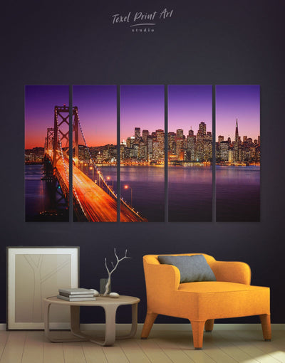 5 Pieces San Francisco Bridge Wall Art Canvas Print - 5 panels bedroom Golden Gate bridge wall art Hallway Living Room