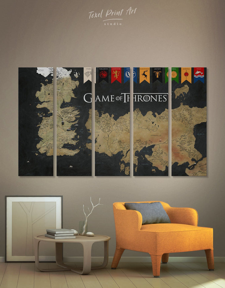 5 Pieces Seven Kingdom Map Wall Art Canvas Print - 5 panels bedroom black and gold wall art Dining room dining room wall art
