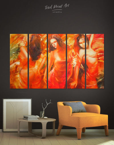 5 Pieces Sexy Wall Art Canvas Print - 5 panels bachelor pad bedroom Erotic Living Room