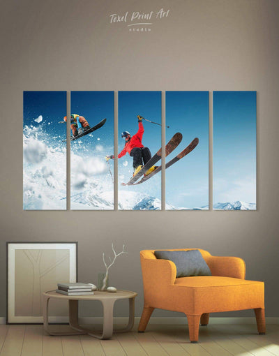 5 Pieces Skiing Canvas Prints Wall Art - Canvas Wall Art 5 panels bachelor pad Hallway inspirational wall art Living Room
