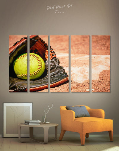 5 Pieces Softball Wall Decor Canvas Print - Canvas Wall Art 5 panels Living Room Office Wall Art softball Sports