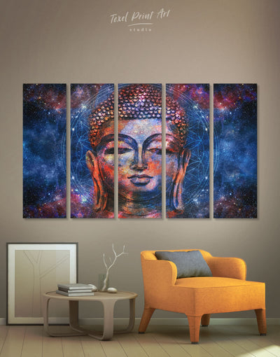 5 Pieces Space Buddhist Mandala Wall Art Canvas Print - 5 panels bedroom Blue Buddha wall art buddhist wall art
