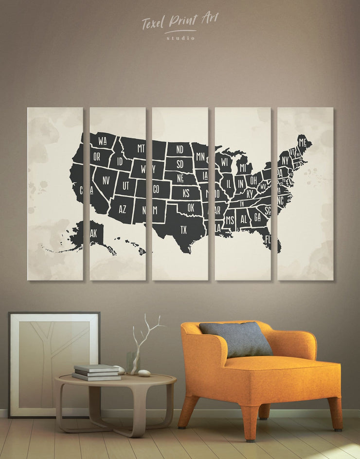 5 Pieces Stylish Map of the USA Wall Art Canvas Print - 5 panels bedroom black black and white wall art Contemporary