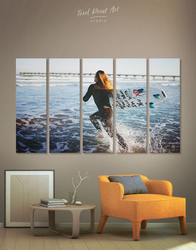 5 Pieces Surfing Girl Wall Art Canvas Print - 5 panels inspirational wall art Living Room Motivational ocean wall art