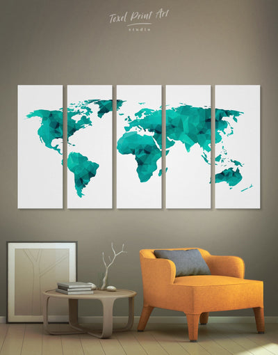 5 Pieces Teal Geometric Map Wall Art Canvas Print - 5 panels Abstract map abstract world map wall art bedroom Geometric