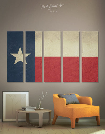 5 Pieces Texas Flag Wall Art Canvas Print - 5 panels Flag Wall Art Living Room modern wall art Office Wall Art