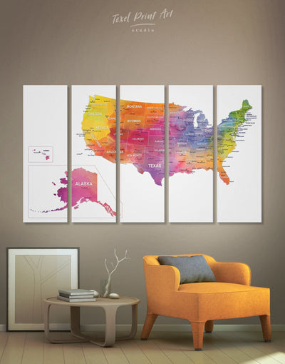 5 Pieces United States Map Wall Art Canvas Print - 5 panels bedroom Dining room Hallway Living Room
