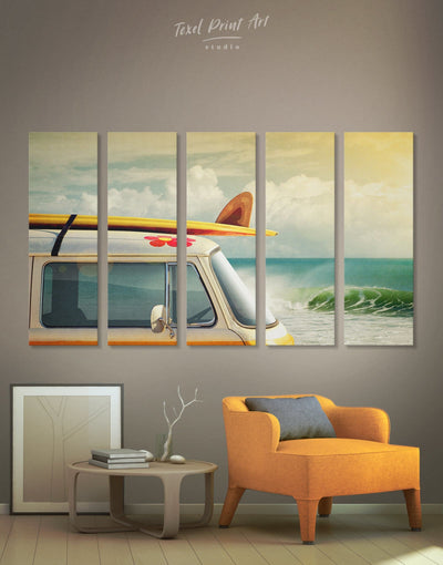 5 Pieces Van Wall Art Canvas Print - 5 panels Beach House beach wall art bedroom Car