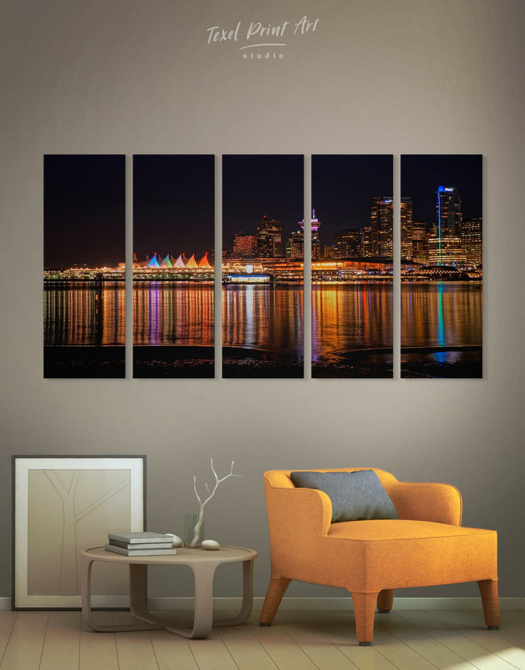5 Pieces Vancouver Skyline Canvas Wall Art - Canvas Wall Art 5 panels bedroom City Skyline Wall Art Cityscape Dining room