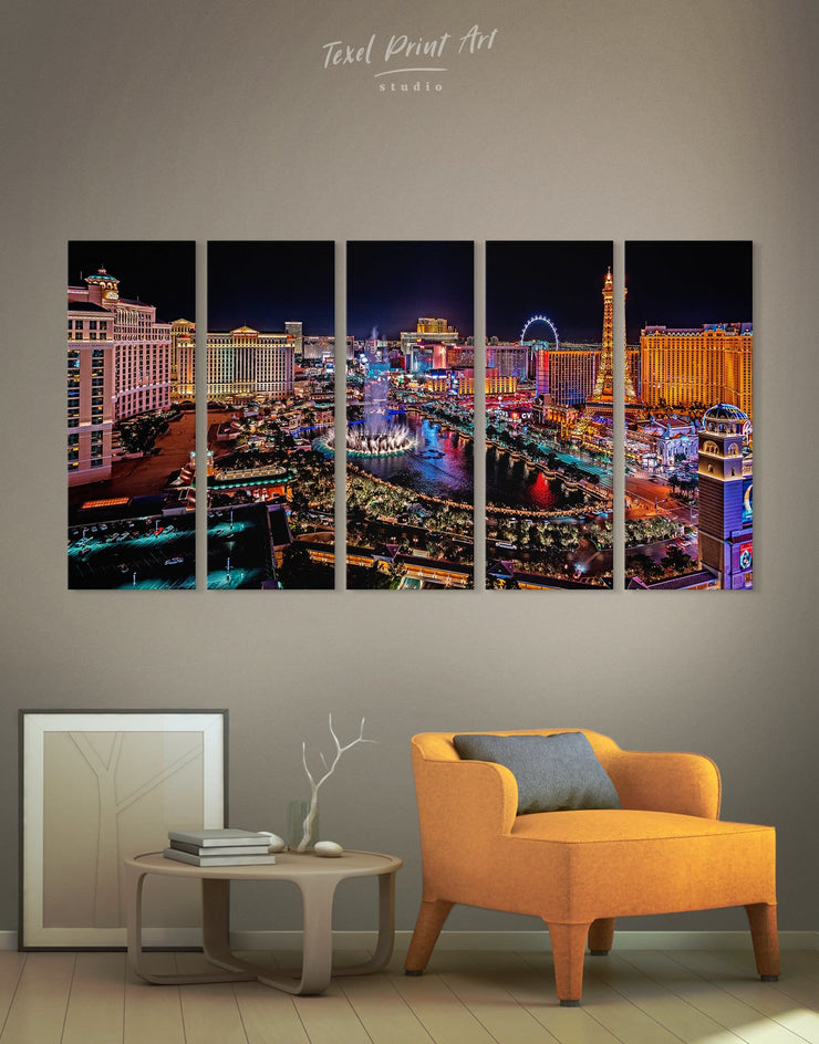 5 Pieces Vegas Skyline Canvas Wall Art - Canvas Wall Art 5 panels bedroom City Skyline Wall Art Cityscape Dining room