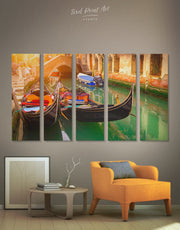 5 Pieces Venice Canal Wall Art Canvas Print