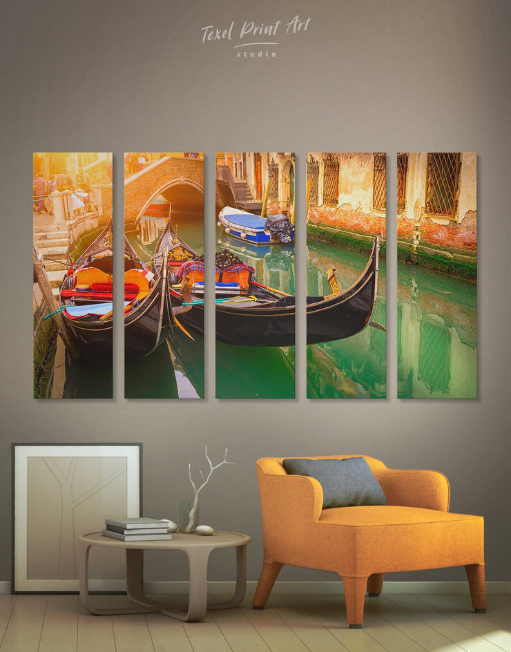 5 Pieces Venice Canal Wall Art Canvas Print - 5 panels bedroom Dining room dining room wall art Italy wall art