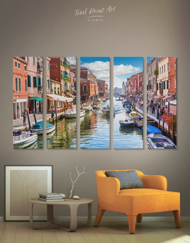 5 Pieces Venice City Wall Art Canvas Print - 5 panels bedroom City Skyline Wall Art Cityscape Italy wall art
