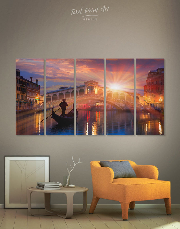 5 Pieces Venice Skyline at Sunset Wall Art Canvas Print - 5 panels bedroom City Skyline Wall Art Cityscape Italy wall art