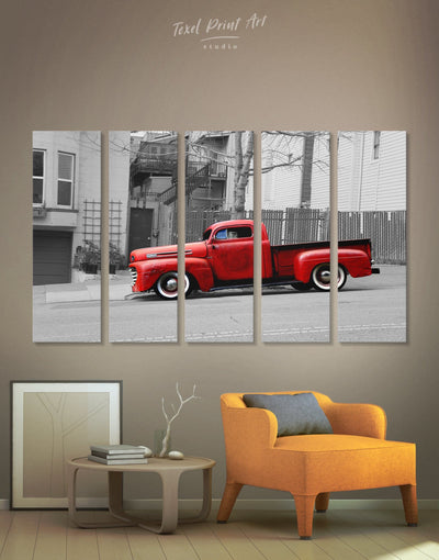 5 Pieces Vintage Car Wall Art Canvas Print - 5 panels bachelor pad Car grey Hallway