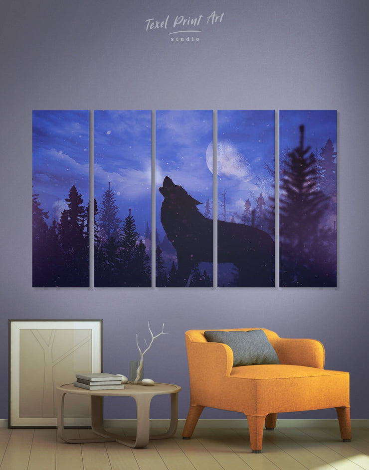 5 Pieces Wolf and Moon Wall Art Canvas Print - 5 panels Animal bedroom Living Room Nature