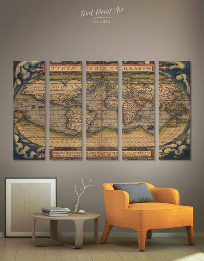 5 Pieces World Map Antique Wall Art Canvas Print - 5 panels Antique Antique world map canvas bedroom Hallway