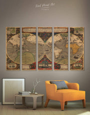 5 Pieces World Map Antique Wall Art Canvas Print 0027