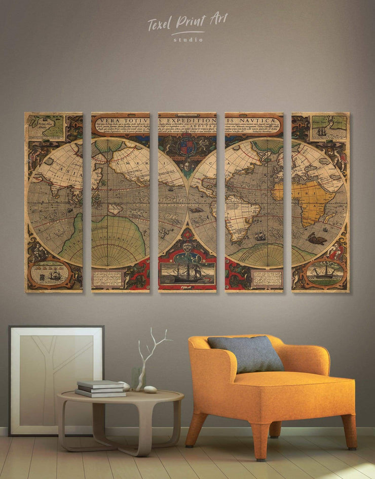 5 Pieces World Map Antique Wall Art Canvas Print - 5 panels Antique Antique world map canvas bedroom Brown