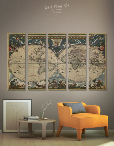 5 Pieces World Map Vintage Wall Art Canvas Print - 5 panels Antique Antique world map canvas bedroom Brown