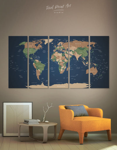 5 Pieces World Map with Cities Wall Art Canvas Print - 5 panels bedroom blue and green wall art Living Room living room wall art