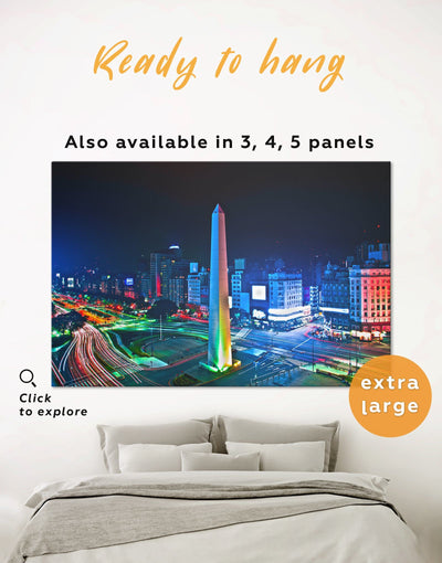 9 de Julio Avenue Wall Art Canvas Print - 1 panel bedroom Blue City Skyline Wall Art Cityscape