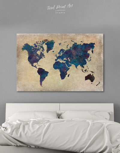 Abstract Blue Map Wall Art Canvas Print - 1 panel Abstract Abstract map bedroom Blue
