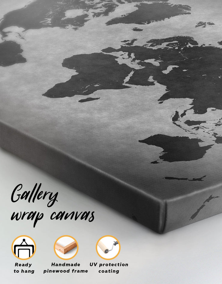 Abstract Grey World Map Wall Art Canvas Print - 1 panel Abstract Abstract map abstract world map wall art black and grey wall art